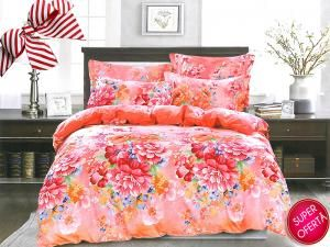 Set lenjerie de pat Colourful Flowers 1+1 GRATIS