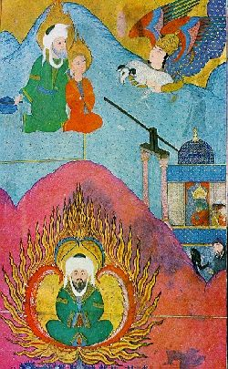 Abraham ready to sacrifice his son, Ishmael (top); Abraham cast into fire by Nimrod (bottom)Kamu Malı Painters of Sultan Murad III - Zubdat-al Tawarikh (Illustrated manuscript)
