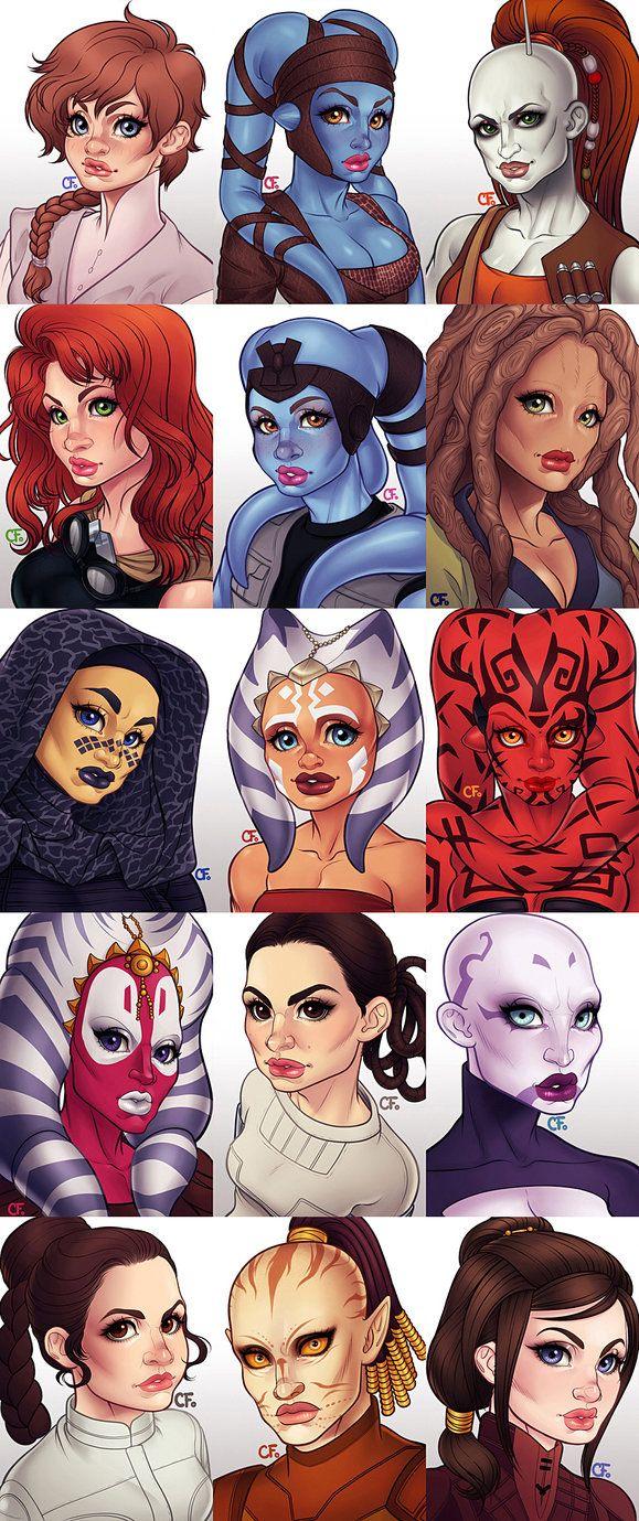 15 Women of Star Wars On Tumblr In Order: Sia-Lan Wezz, Aayla Secura, Aurra Sing, Mara Jade, Mission Vao, T'ra Saa, Barriss Offee, Ahsoka Tano, Darth Talon, Shaak Ti, Padmé Amidala, As...