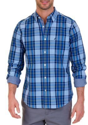 Nautica Men's Classic Fit Windsurf Plaid Shirt - Linen Blue - 2Xl