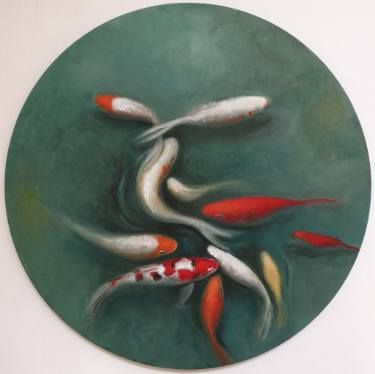 Flowing tondo / oil on round canvas / 2016 60cm diam #fish #fineart #roundcanvas #fishart #fishpainting #koi