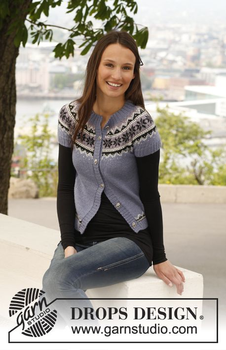 """Free pattern: Knitted DROPS jacket with short sleeves and Norwegian pattern in """"BabyAlpaca Silk"""". Size: S - XXXL."""