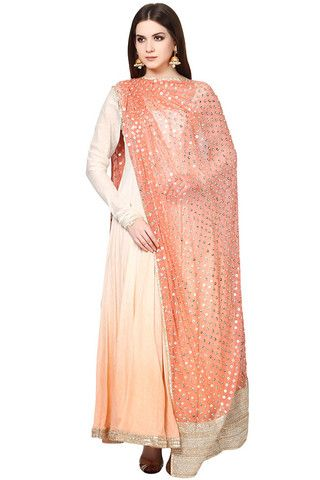 Peach Ombre Anarkali Suit with Embellished Dupatta