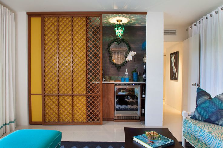 Baroque sliding room dividers in Family Room Midcentury with Indian Door next to Home Bar alongside Sliding Room Divider and Outdoor Tiki Bar