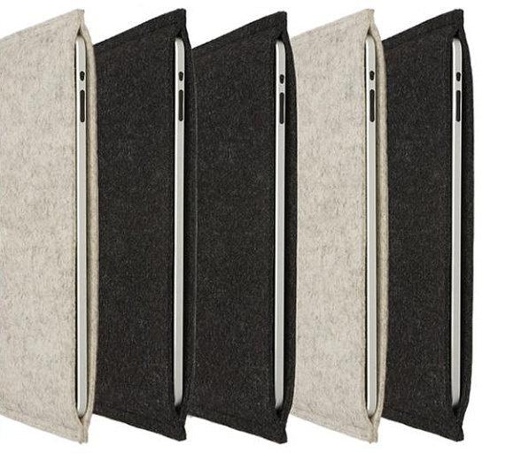 ipad case sleeve - 100% merino wool felt 3mm thick. $33.00, via Etsy.