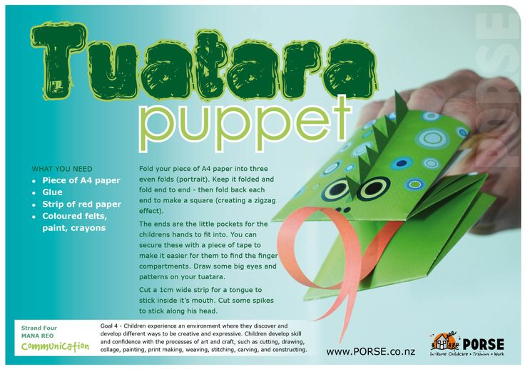 get your coloured paper out and have a go at these puppets, motor skills are exercised here with folding...