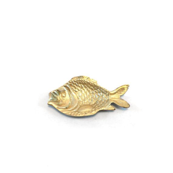 Vintage Brass Fish Trinket Dish - Jewelry Tray - Brass Nautical Dish - Gold Beach Lake House Decor - Mid Century Table Accent - Coin Key