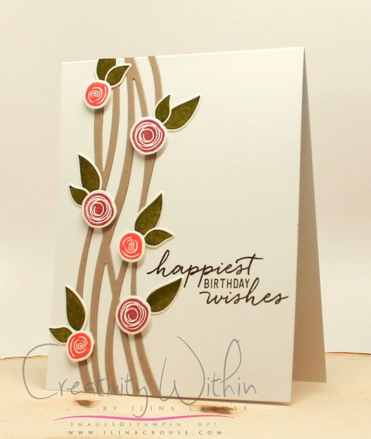 Stampin' Up! Swirly Birds stamp set; Swirly Scribbles Thinlits dies; colors are Sweet Sugarplum, Flirty Flamingo, Old Olive, Soft Suede - Ilina Crouse