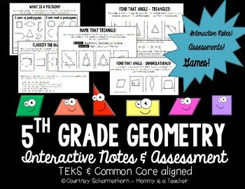 "{NEW PRODUCT - 1/2 PRICE FOR A LIMITED TIME}This teaching guide is perfect to introduce and assess 5th grade geometry standards!  It is comprehensive, and covers TEKS 5.5 and CCSS 5.G.B.3 & CCSS 5.G.B.4.  All materials are compatible with interactive notebooks.Included in the guide:*4-page ""Cheat Sheet"" of important vocabulary terms (48 total words);*Lesson 1: Polygons   -""What is a Polygon?"" student notes  -""Polygon Sort"" assessment*Lesson 2: Triangles  -""What I Know About Triangles"" not..."