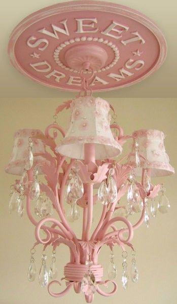 Chandelier: Idea, Ceilings Medallions, Girls Bedroom, Ceiling Medallions, Pink Chandeliers, Little Girls Rooms, Baby Girls, Little Girl Rooms, Sweet Dreams