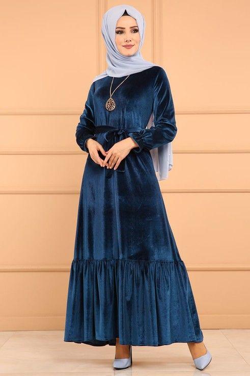 Modaselvim Elbise Firfirli Kadife Elbise Edf4010 Petrol Basortusu Modasi Musluman Modasi Elbise
