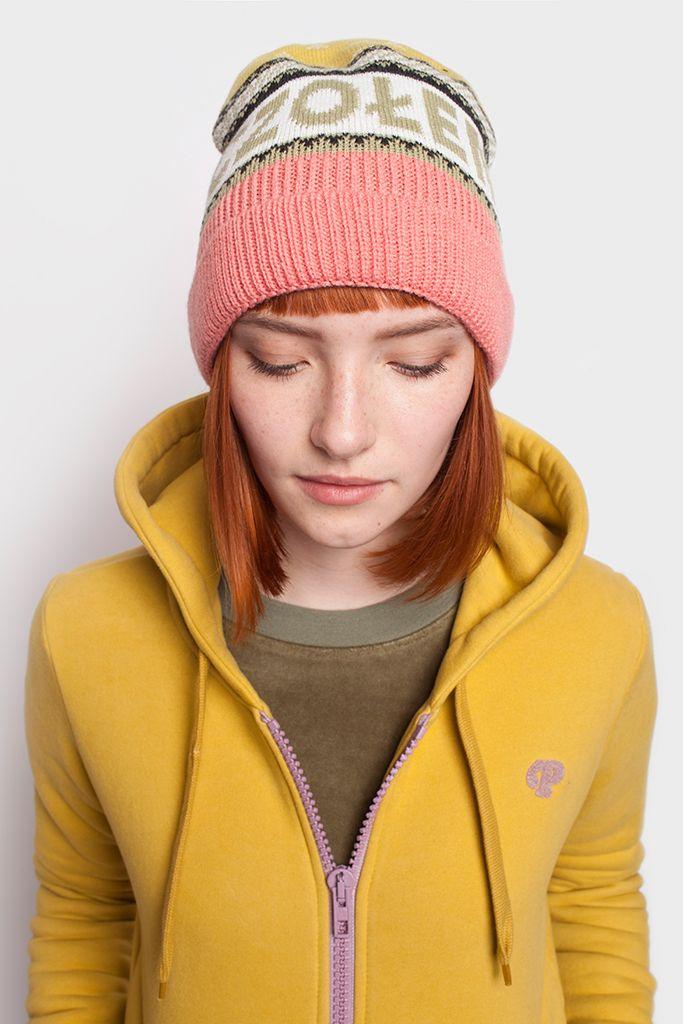Czapka zimowa Czołem różowo-żółta