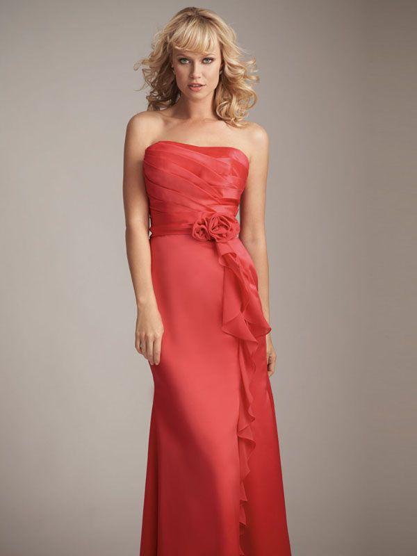 2012 Column Strapless Drape Lowback Watermelon Floor-length Uk Bridesmaid Dress Belfast With Flower BD0130 300shopping