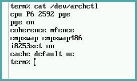 Plan 9 `cat /dev/archctl` (in virtualbox)