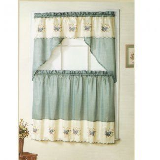 Butterfly Faux Silk 3 PC Kitchen Curtain Set   Our Kitchen Curtains Are  Expertly Tailored And Add An Elegant Touch To ...