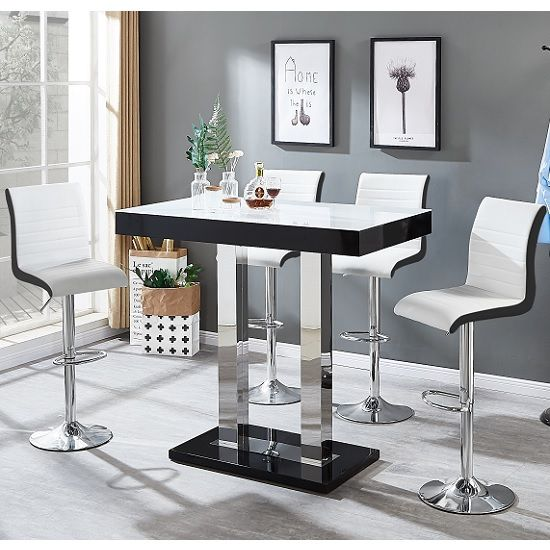 3b7a1540a91 Caprice White Glass Bar Table Black Gloss 4 Ritz White Stools in ...