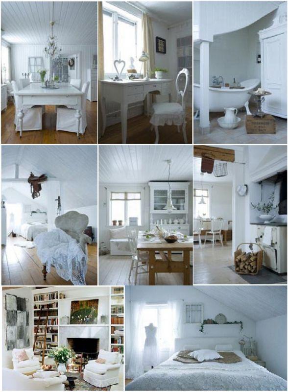 Lantligt romantisk. Vitt, vitt, vitt dominerar här, loppisföremål i silverfärg som vaser och tekannor, spets, flagnad färg på möbler, skira gardiner, ljusinsläpp, naturen, gröna växter och vita blommor, emaljerade grytor mm från loppisar, fönster som tavlor, ljust eller vitmålat trä, ljusa trägolv, vedspis i köket, textil på stolar, vitt porslin i mjuka former, bulliga vita fåtöljer och soffor, kristallkrona, badkar på fot, skrivbord, kvinnligt, stilleben, vitrinskåp, burkar med text på…