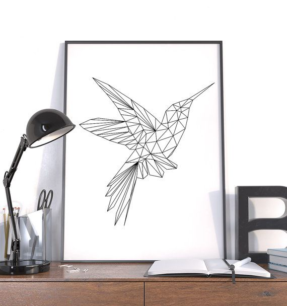 Polygon Art, Large Geometric Print, Hummingbird Black, Instant Download Wall Art