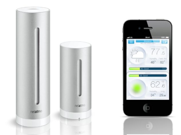 Netatmo weather station for iPhone, iPad and Android Sophisticated, robust – perfect design   The Netatmo Weather Station is truly impressive    Each module features a shell made from a single piece of sturdy aluminum and a soft, sleek design. The included AAA batteries that power both modules are charged using the provided USB power plug. A wall mount is also shipped with the station. The Netatmo app is available for iOS and Android devices. ...