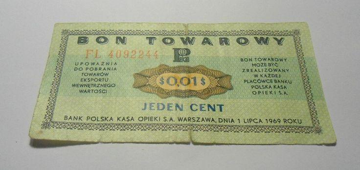 1 cent 0,01 $ bon towarowy PEWEX pamiątka PRL 1969