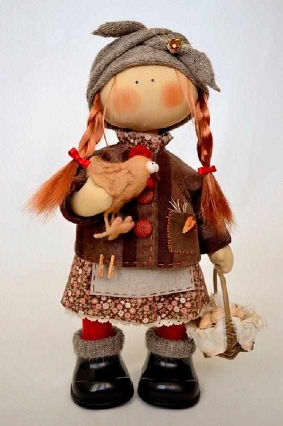Aggie Doll-Handmade Doll-Textile Doll-Fabric Doll-Rag Doll-Home Decoration-Handmade Toy-Interior Doll