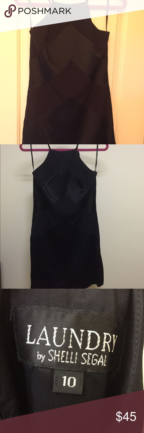 🎉SALE 🎉 Laundry LBD. Halter top w/satin design Very good cond. worn once but could use a good steaming. LAUNDRY Dress label is marked 10 but could probably fit a 8-10 or maybe a large 6. Black satin chevron type pattern. Laundry by Shelli Segal Dresses