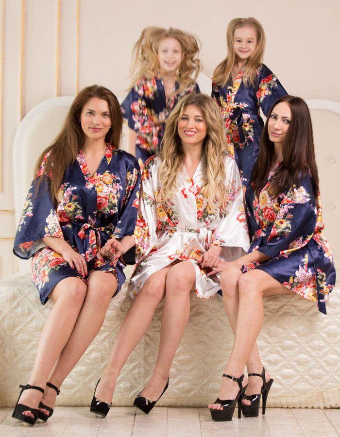 Etsy BRIDESMAID ROBES Navy Blue, Satin Robes