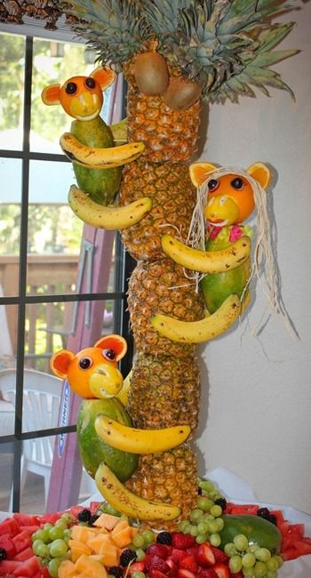 Pineapple Tree Centerpiece with Fruit Monkeys. Cute for children's birthday parties!
