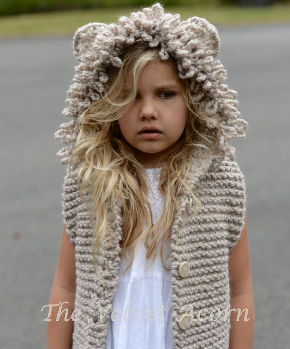 KNITTING PATTERN - LeLynn Lion Vest (2, 3/4, 5/7, 8/10, 11/13, 14/16, S/M, L/ XL)