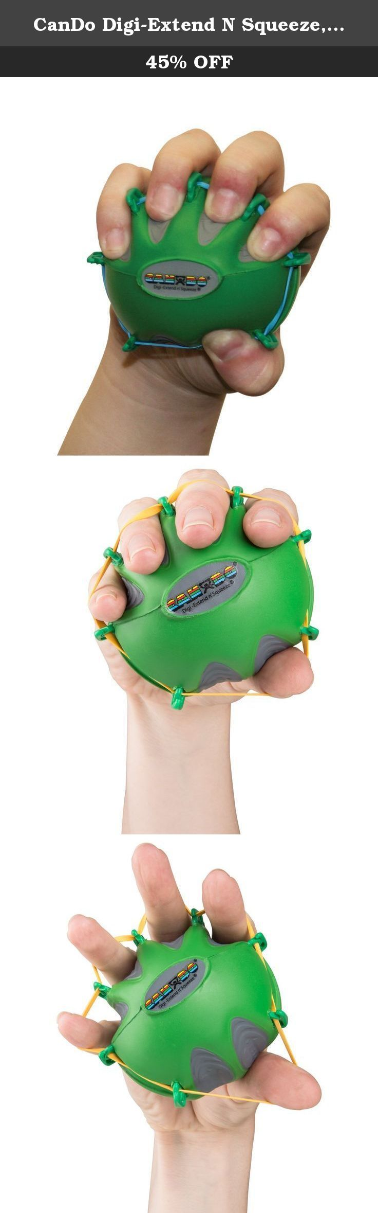 CanDo Digi-Extend N Squeeze, Medium Green. CanDo Digi-Extend n' Squeeze Hand Exerciser combines best features of Digi-Extend and Digi-Squeeze. It helps to develop isolated finger strength, flexibility and coordination. Provides complete reciprocal exercise program (flexion and extension). Ergonomic ball-shape positions fingers and hand for ideal pressure distribution. Each exercise comes with exercise pamphlet. CanDo Digi-Extend n' Squeeze available in 3 sizes. Each size available in 5...
