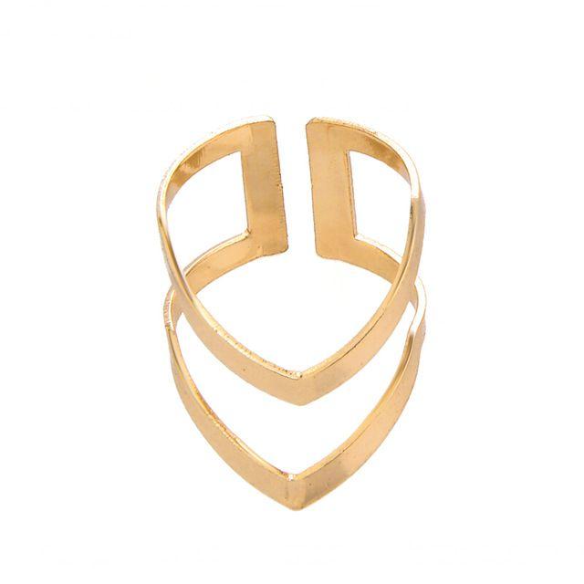 2016 Novo Design de Moda Simples Punk Double V Forma Anéis de Dedo para as mulheres em Ouro/Prata/Rosa-ouro JZ248