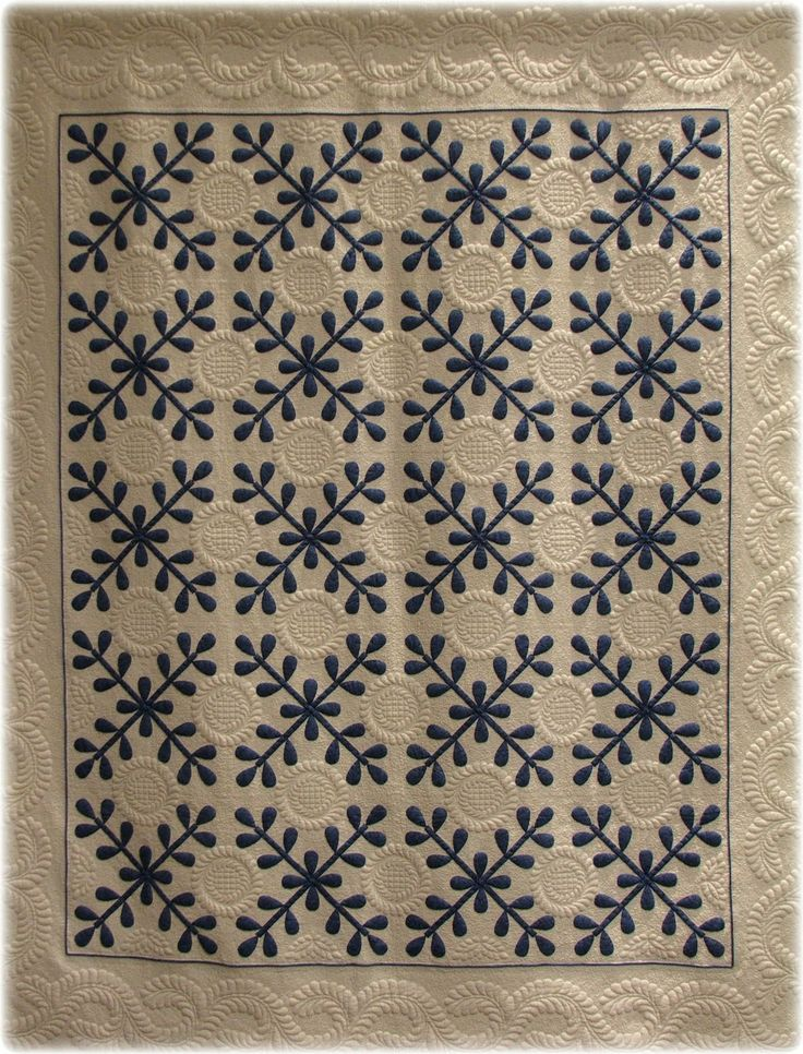 """Vintage inspired: """"Jamie's Jubliee"""" by Barbara A. Perrin, hand appliqued, machine quilted. The pattern is by Jane Lohmar from the Leisure Arts book, Great American Quilts 1998.  Posted at monomaniacal quilter"""