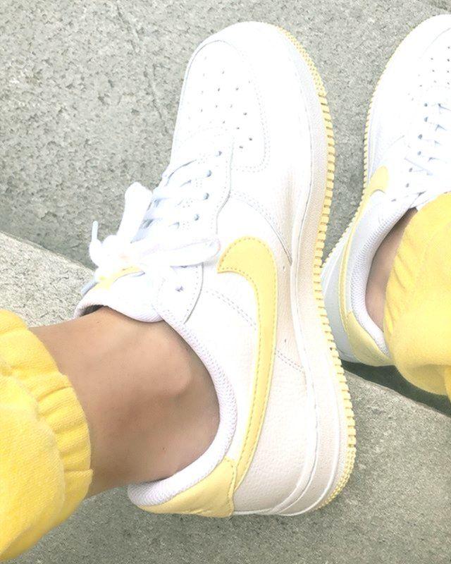 Yellow lemon and white Nike Air Force 1