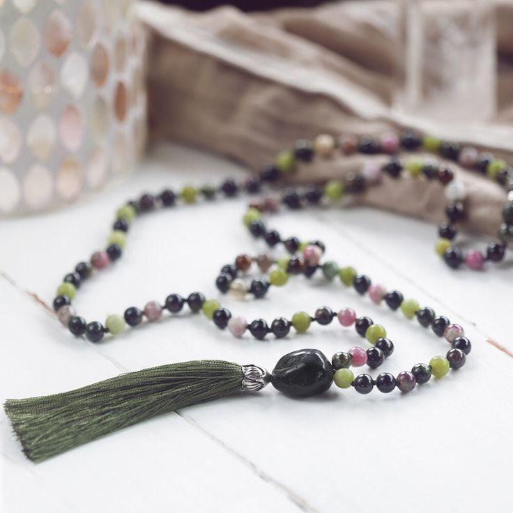 Tourmaline Hand-knotted Mala Beads, Watermelon Tourmaline Mala Necklace with Silver Flower Cap and Silk Tassel, Yoga 108 Mala Beads by TaipaShop on Etsy https://www.etsy.com/se-en/listing/480319589/tourmaline-hand-knotted-mala-beads