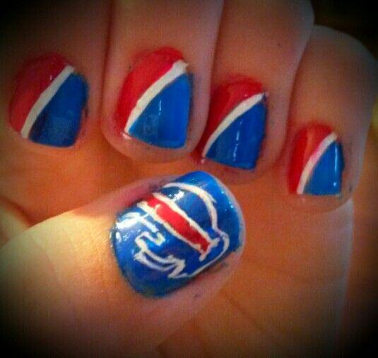 Buffalo Bills Nails, Football Nail Art