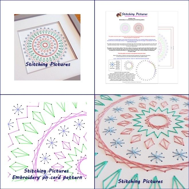 Create beautiful hand embroidered art work and greetings cards by stitching this pretty circle pattern directly onto pricked card. Download instantly from https://payhip.com/b/Mmgp