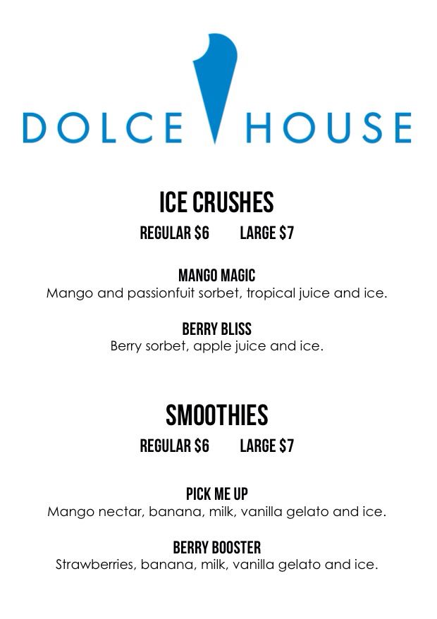 Dolce House drinks menu