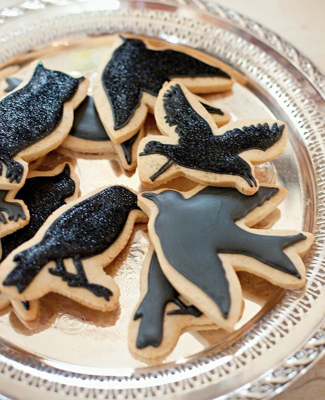 Halloween Cookies with black ravens - Camille Styles