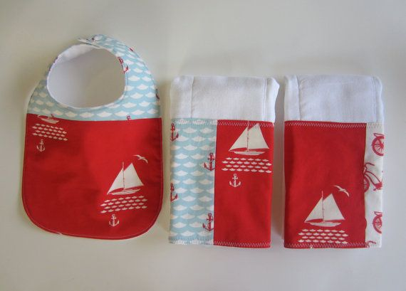 Baby BurpCloth Bib  #Nautical Burp Cloth Set  #Organic