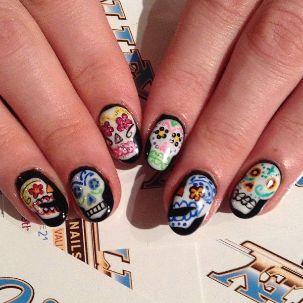 .@Valley Nails NYC | Fun #dayofthedead #gelmanicure #nailart on @plane_view by Karen