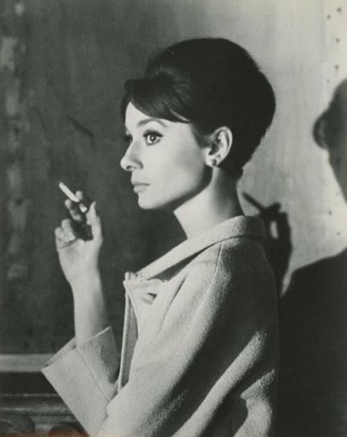Audrey Hepburn during the filming of Charade (1963).