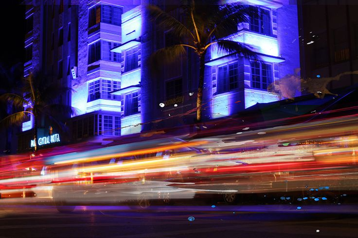 Motion of South Beach Miami at night.