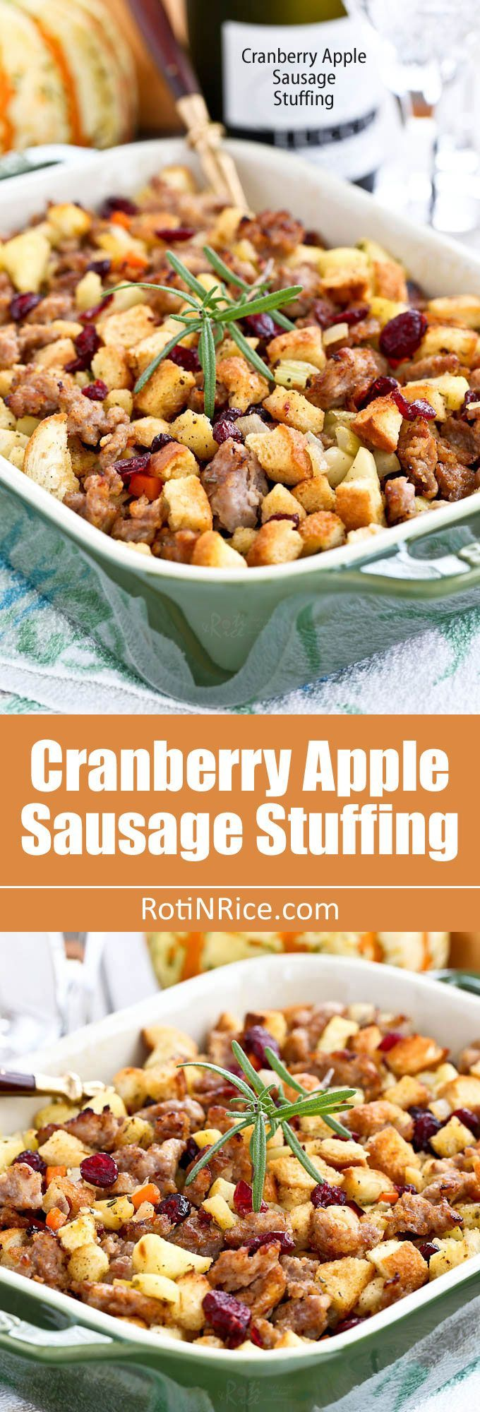 Sweet and savory Cranberry Apple Sausage Stuffing packed with flavor. Easy to prepare. A must-have for the holidays. | http://RotiNRice.com