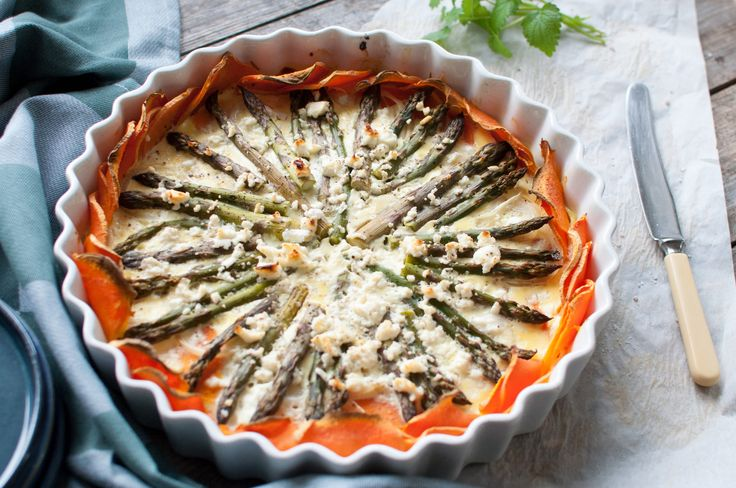 Sweet potato quiche with asparagus and Apetina