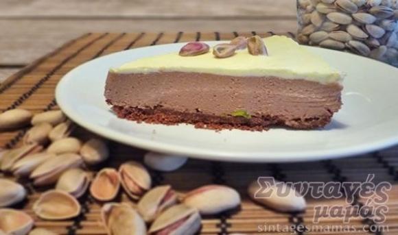 Cheesecake with chocolate cream - Τσιζκέικ (cheesecake) με κρέμα σοκολάτας