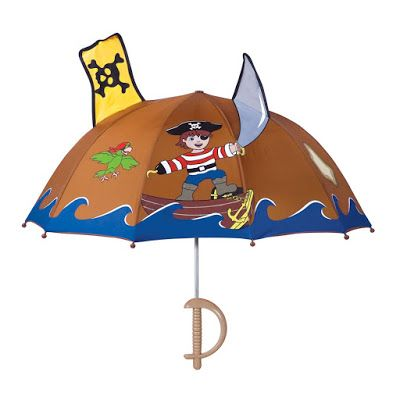 This Kidorable Pirate umbrella is lightweight, nylon child-safe umbrella.  A FUN and easy to grip Pirate sword handle adds extra play value for your child.