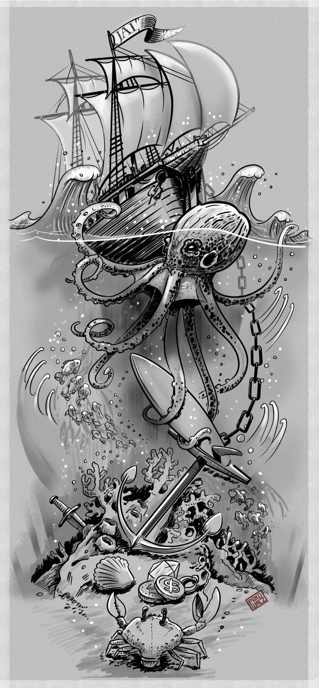 SURFING / OCEAN THEME TATTOO on Behance                                                                                                                                                                                 More