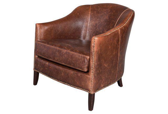 Madison Leather Club Chair, Saddle 869.00!!!