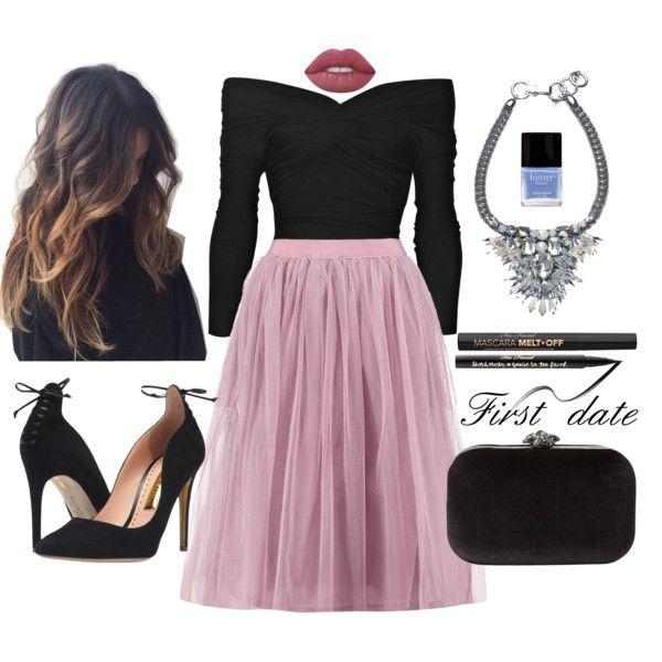 First date outfit by staceybuijs on Polyvore featuring Boohoo, Carven, Rupert Sanderson, Phase Eight, Too Faced Cosmetics, Lime Crime and Butter London