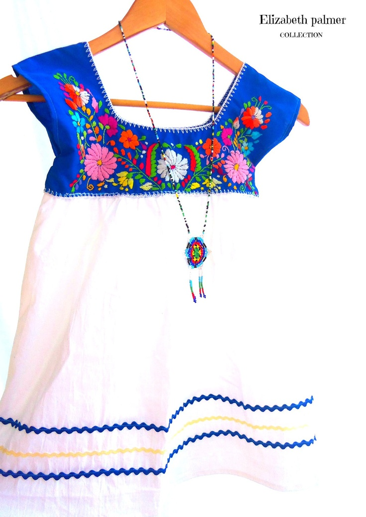 Celina Mexican Handmade Embroidered Mix Cotton baby Tunic dress. $35.00, via Etsy.